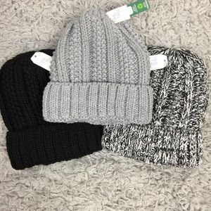 NWT Chunky Knit Beanies Recycled Material